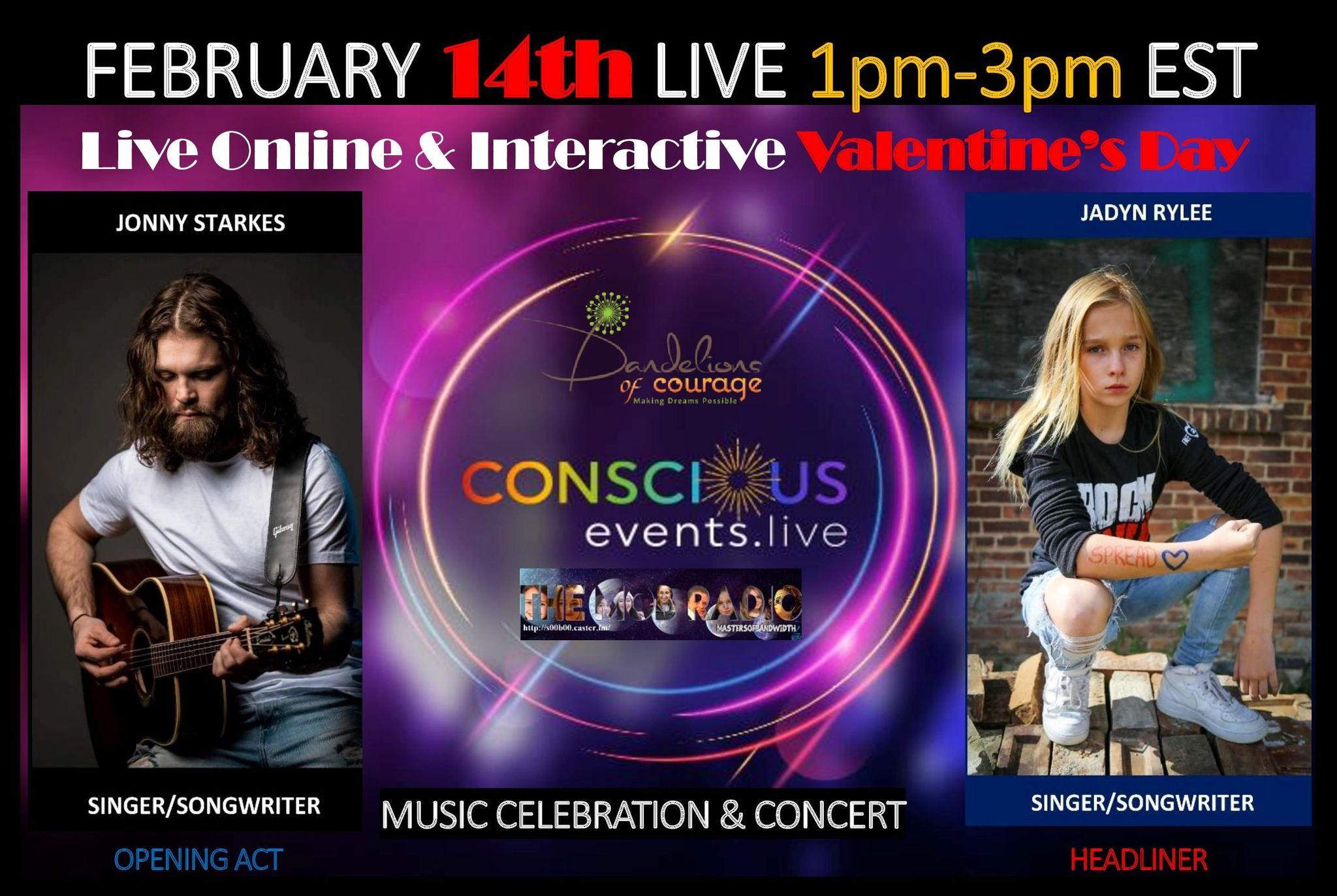 Sunday February 14, 10AM – 12PM PST/1PM – 3PM EST: Jadyn Rylee & Jonny Starkes! ON-LINE – Live and Interactive Valentine's Day Musical Celebration